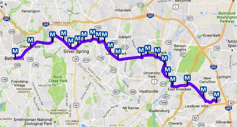 Washinton Dc Metro Map.Dc Metro Purple Line Map Light Rail In Maryland
