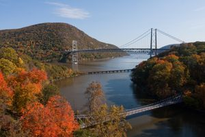 series of bridges going over a wide river New York's Hudson