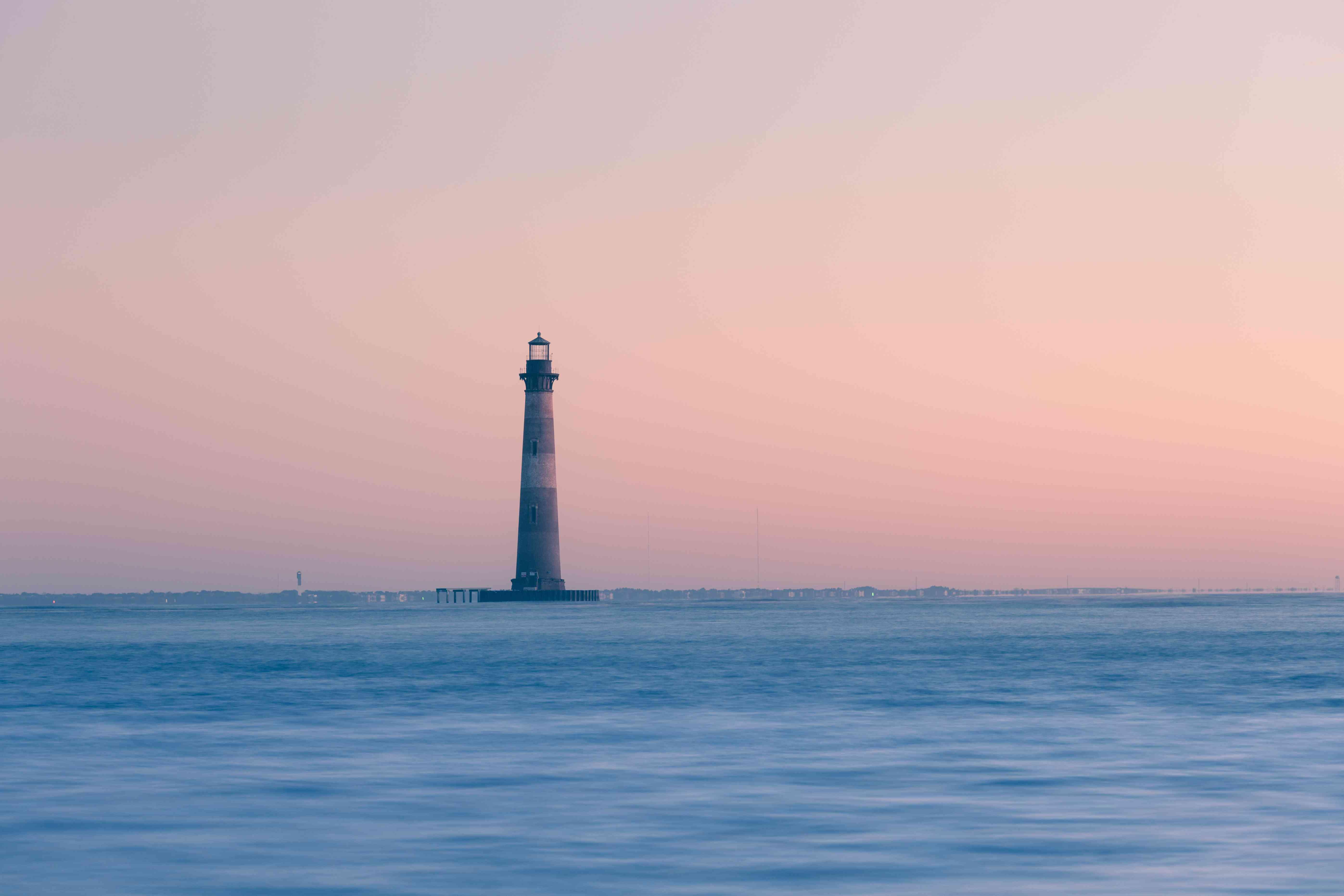 Morris Island Lighthouse at sunrise, South Carolina, USA