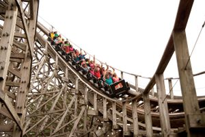 Riders on the Roar roller coaster at Six Flags America