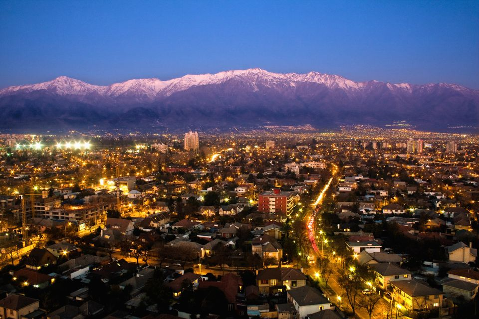 View over Santiago de Chile at dusk
