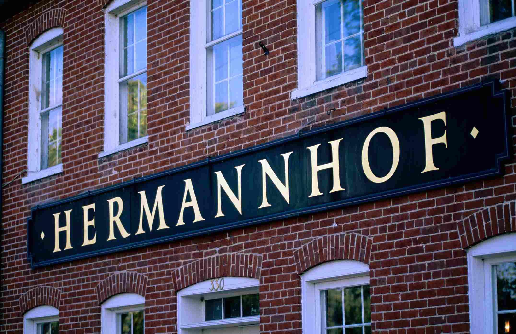 Sign at Hermannhof Winery in Herman, MO