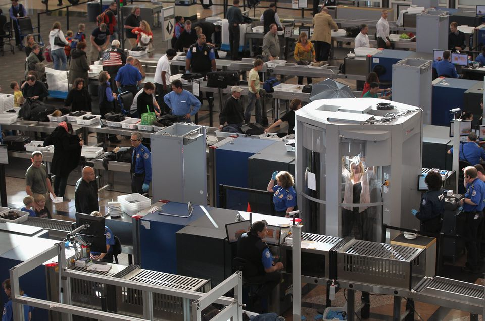 TSA screening lines at Denver International Airport