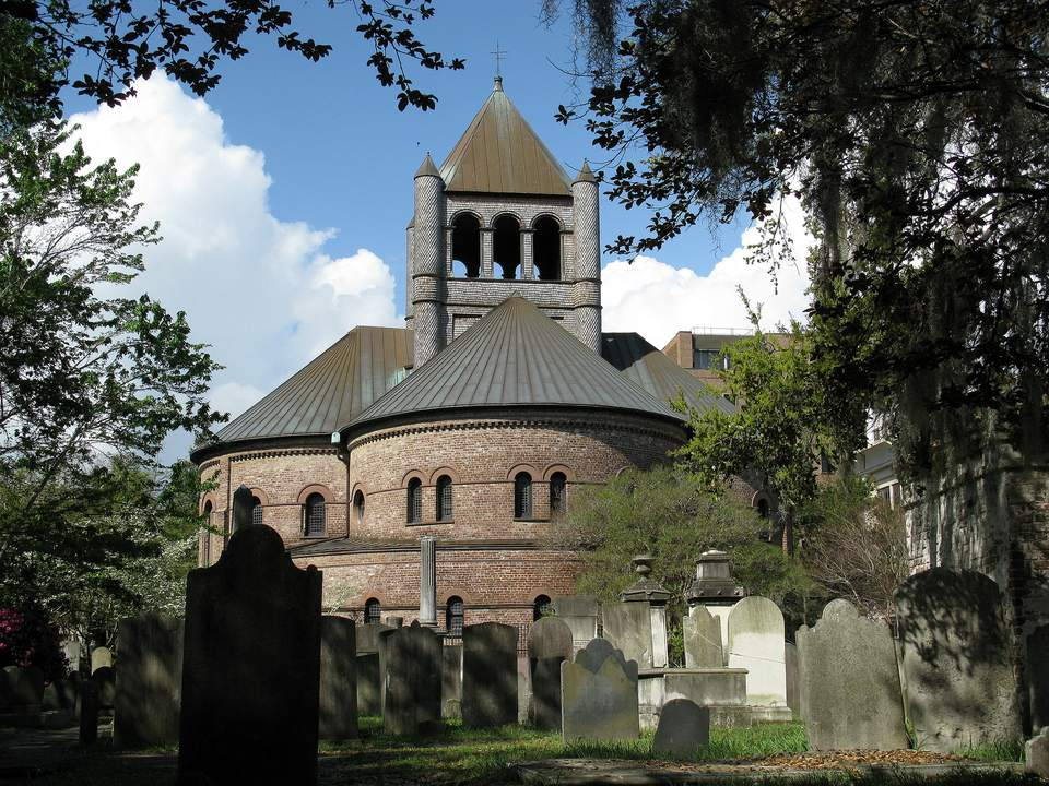 Circular Congregational Church, Charleston, SC, from St Philip's churchyard