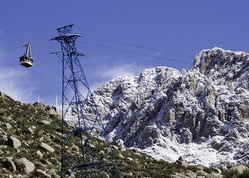 A Snowy Sandia peak and the Sandia Peak Tram