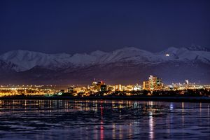 Anchorage at night in winter