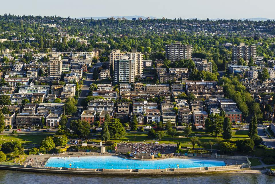 Aerial view of Kits Pool and Kitsilano