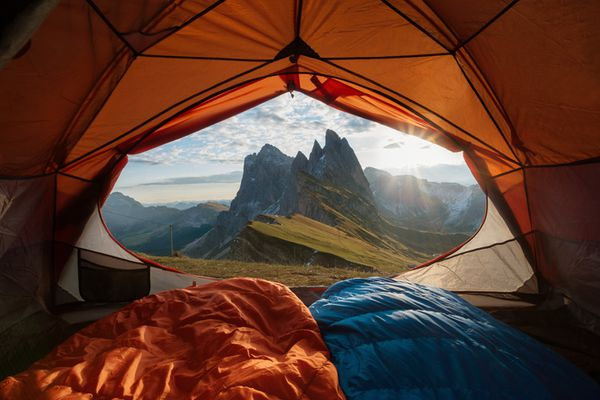 View from tent to the mountain