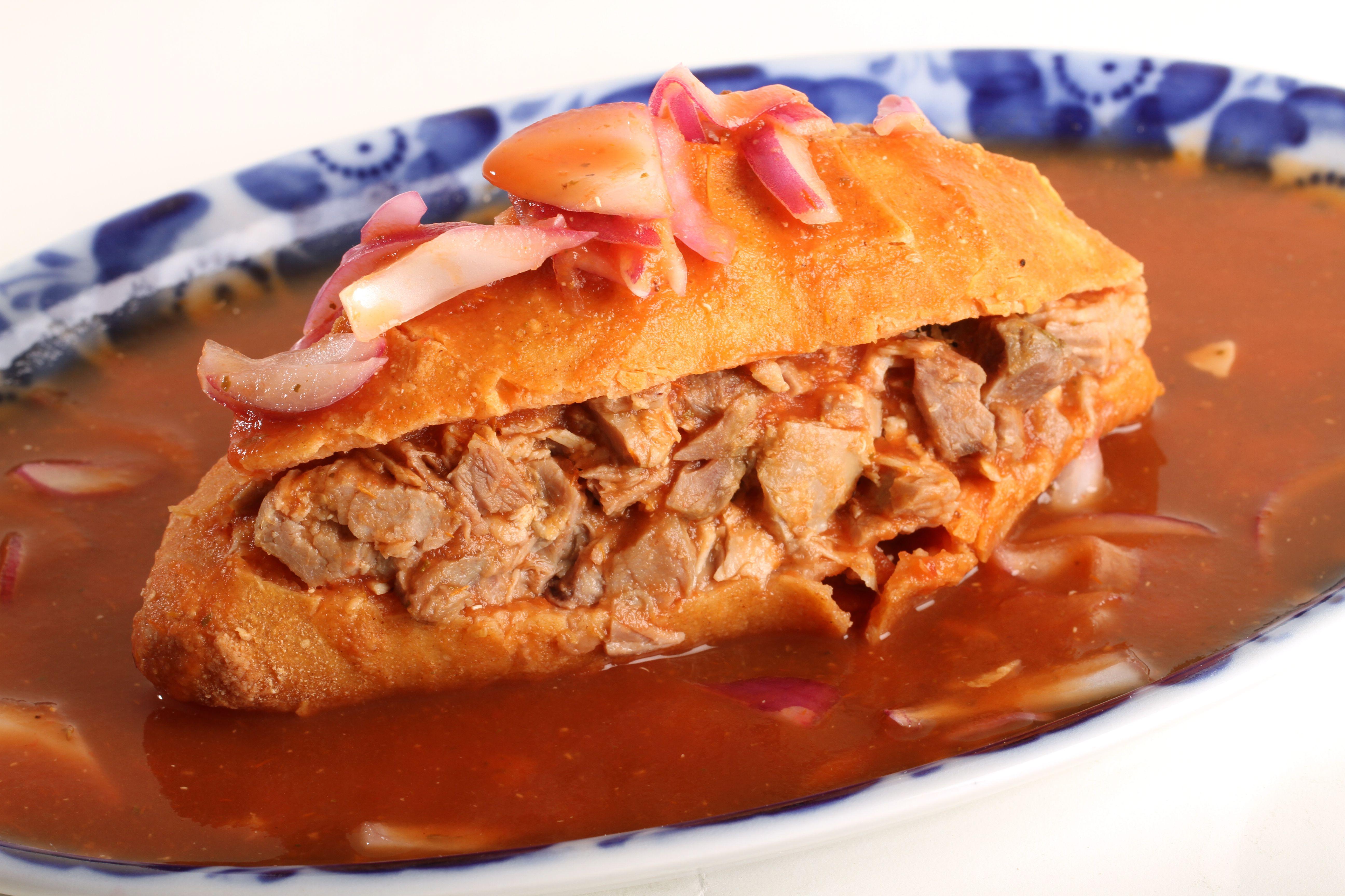 Mexican cuisine, torta ahogada, Guadalajara.