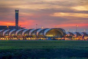 Suvarnabhumi Airport in Thailand at sunset