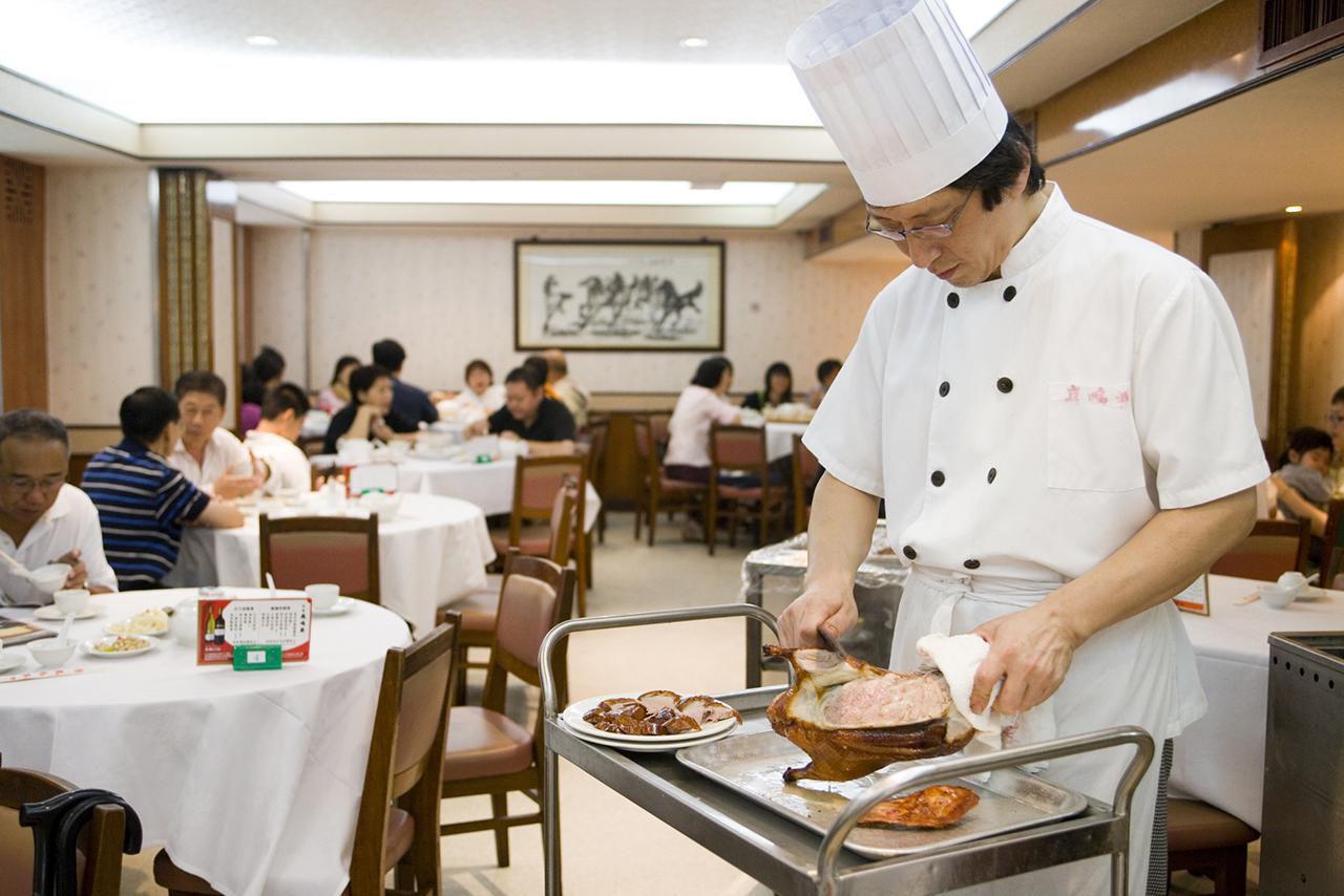 Talla del pato de Pekín, restaurante Spring Deer, Tsim Sha Tsui
