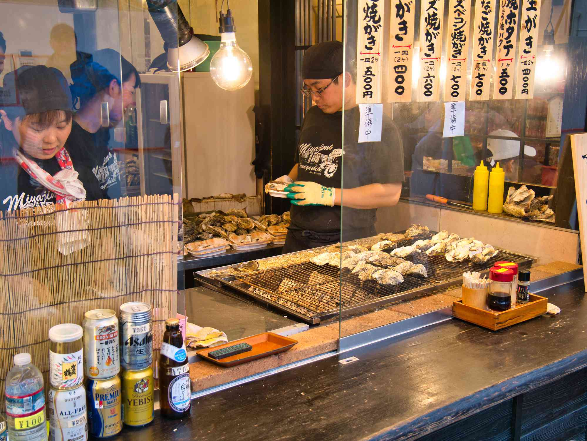 Oyster street food stall in Hiroshima