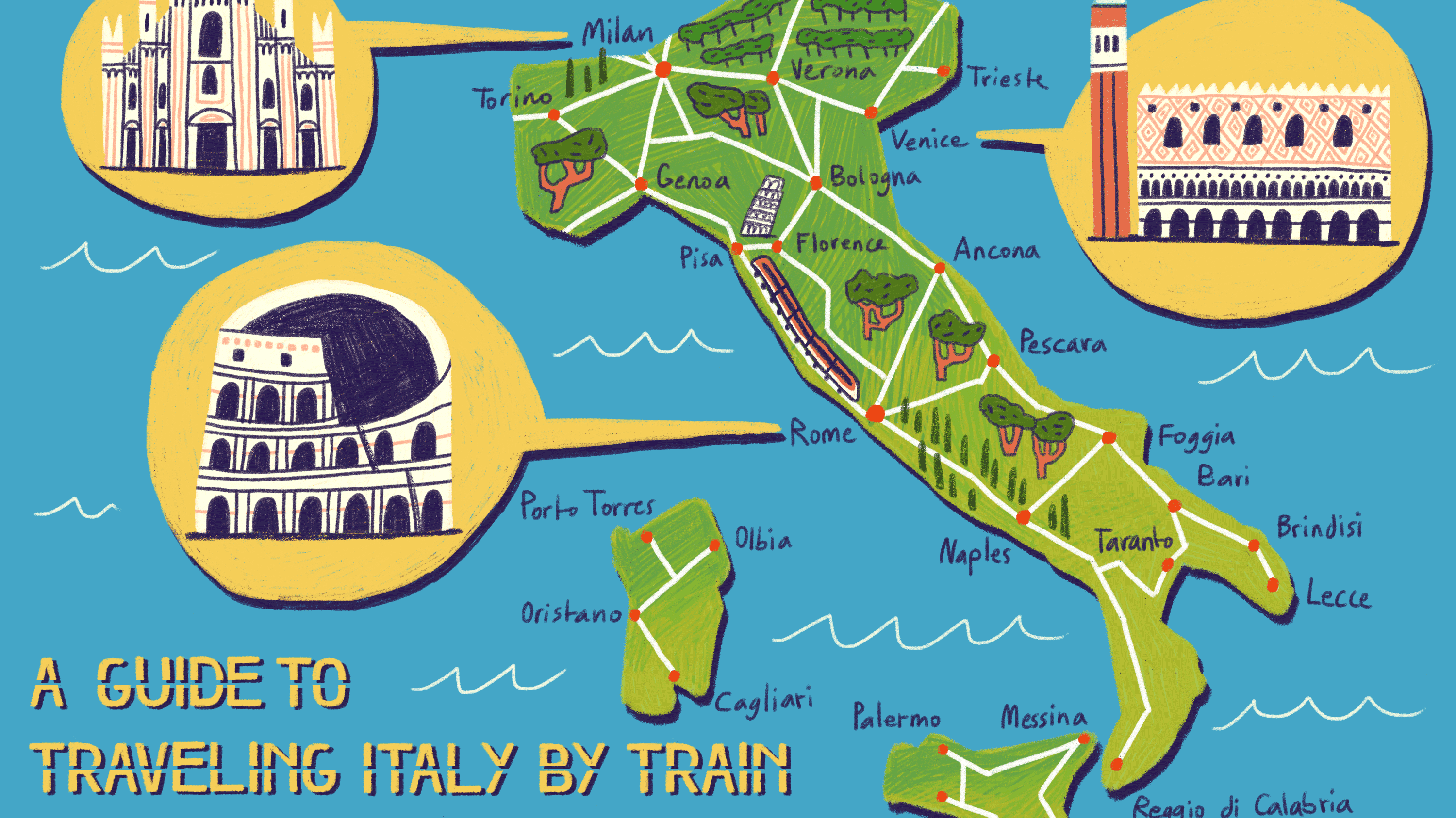 Bologna On Map Of Italy.A Guide To Traveling Italy By Train