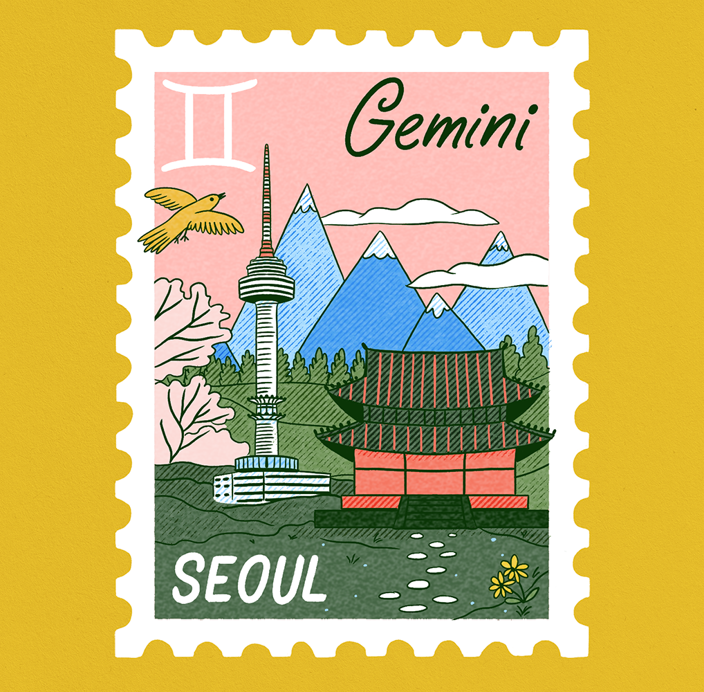 An illustration of a stamp with a scene of Seoul with the Seoul Tower, A temple, and mountains in the background and Gemini written on it.