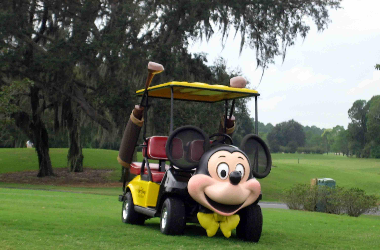 Mickey Mouse-themed golf cart at Walt Disney World Resort's Magnolia Golf Course