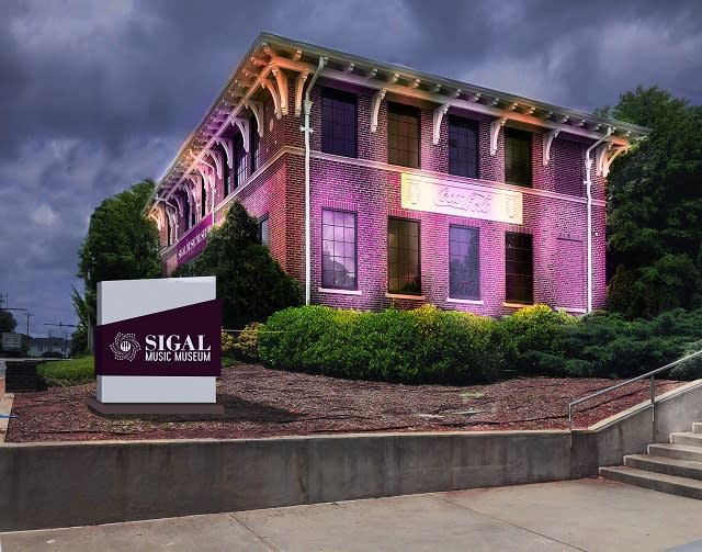 Sigal Music Museum on a cloudy day at night