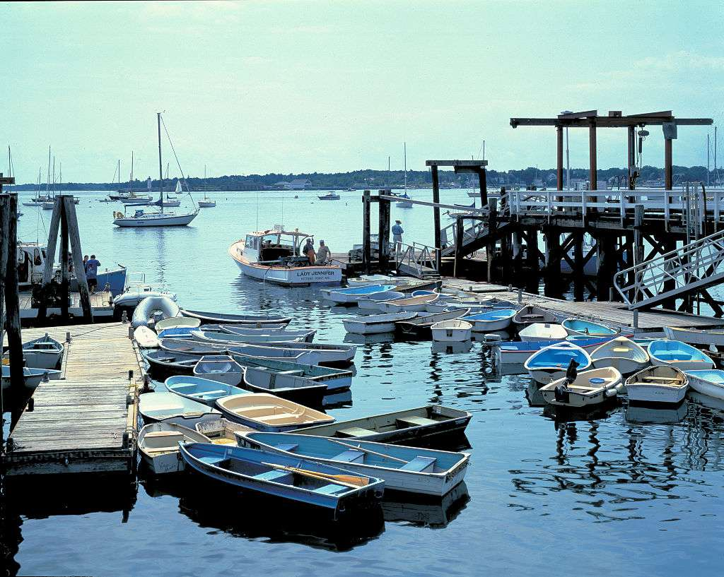 Boats congregate at the harbor, Kittery Point, Maine