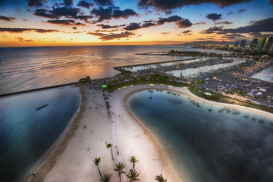 Waikiki Beach Front At Sunset