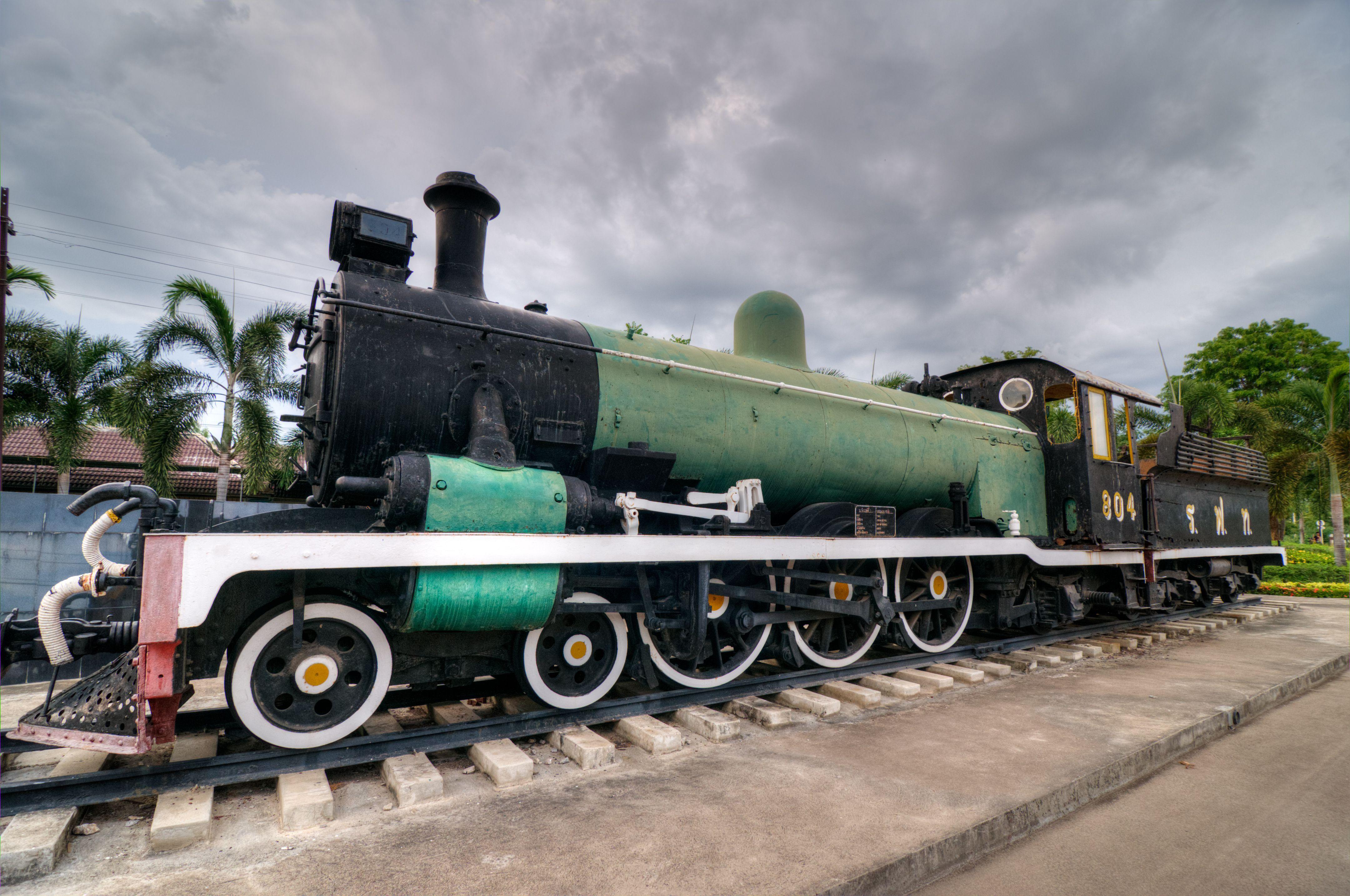 An old locomotive on display in Kanchanaburi