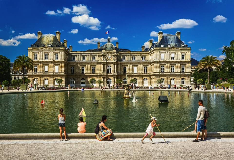 Senate and Luxembourg Garden in Paris, France
