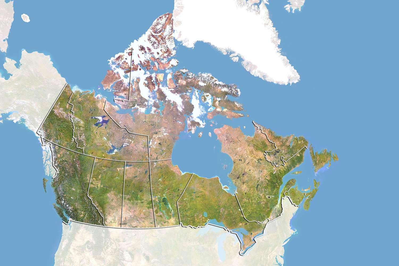 Mapa satelital de Canadá
