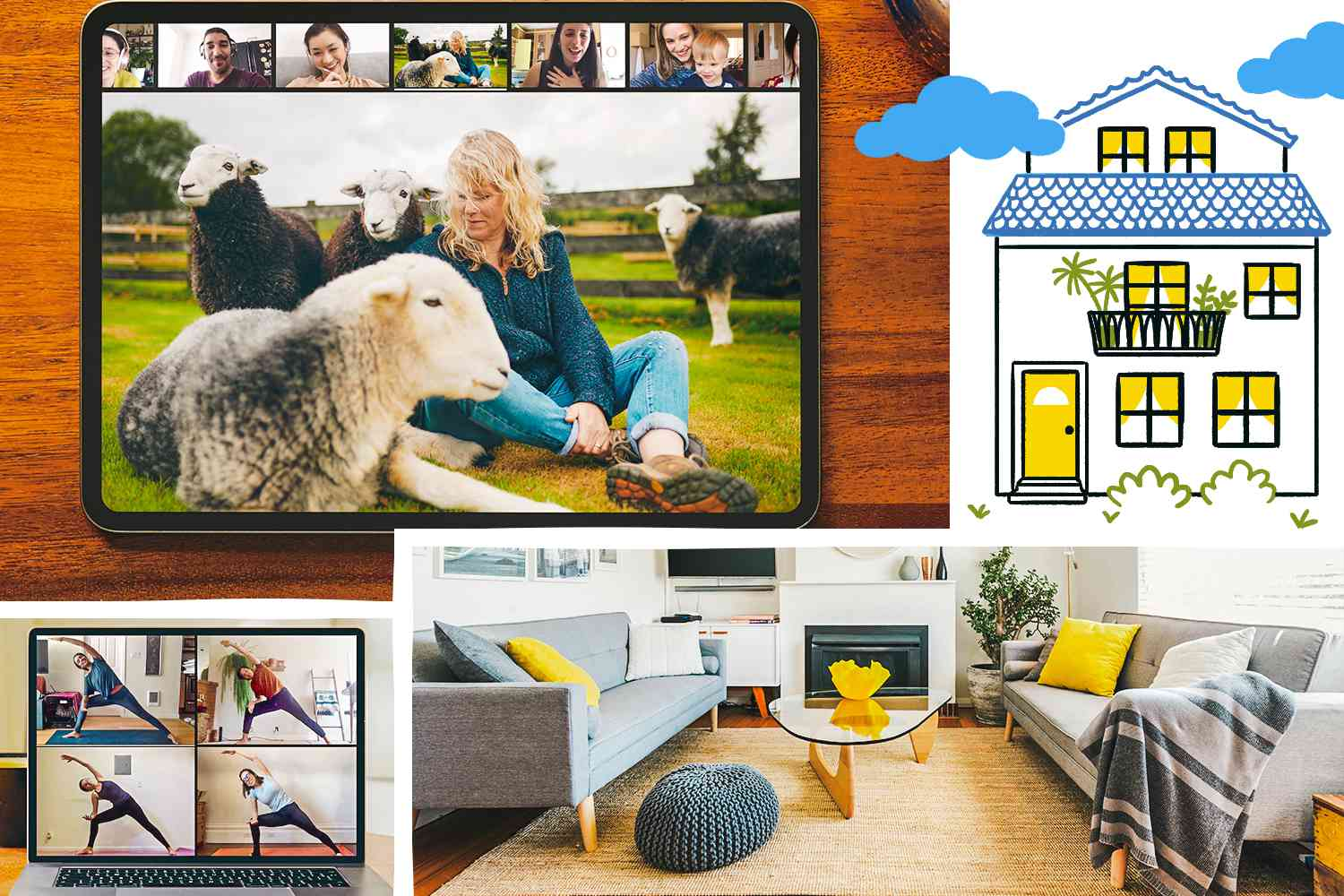 Collage of photos and and illustration depicting Airbnb and its digital experiences