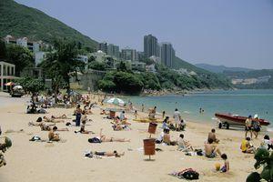 Sunbathers on Stanley Main Beach, Hong Kong