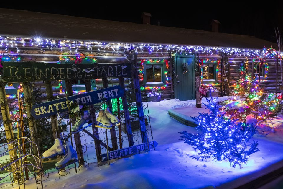 Historic Sullivan Roadhouse in Delta Junction, Alaska Decorated for the Holidays