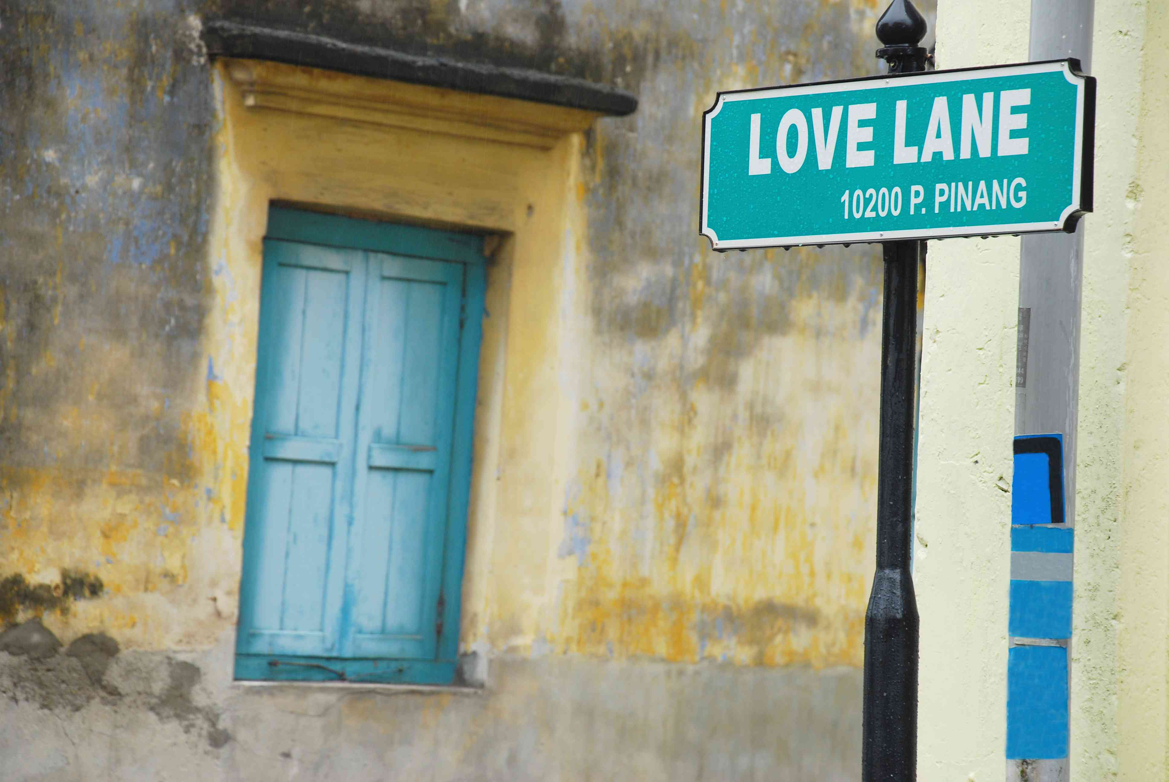 Love Lane sign and door in George Town, Penang