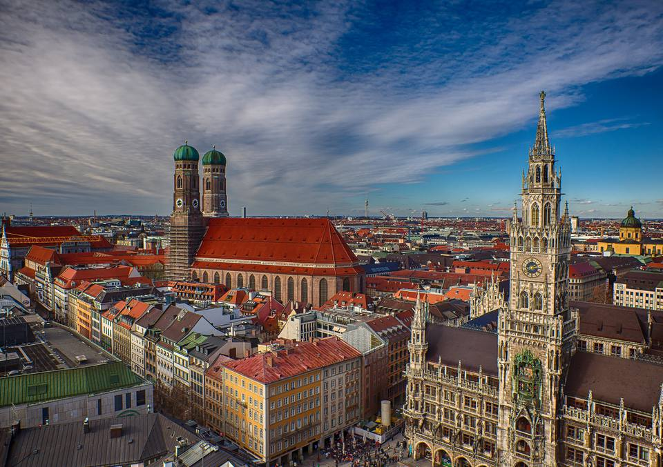 Classic Munich view from 'Alter Peter' to 'Marienplatz' and 'Frauenkirche'