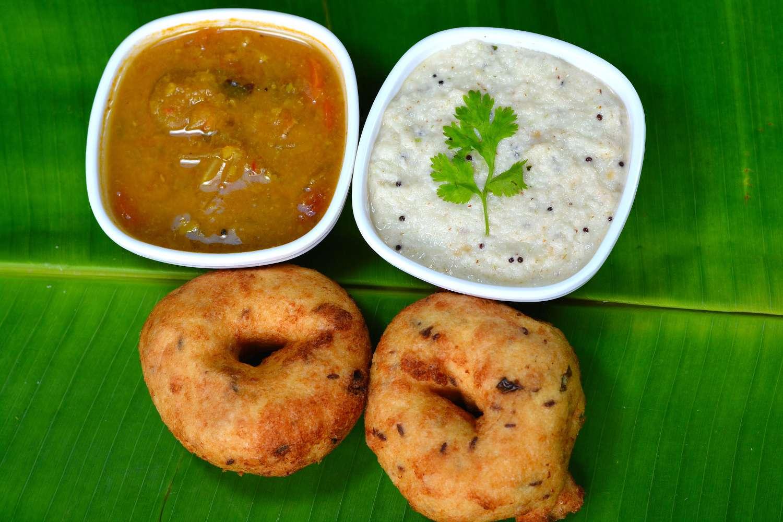 Vada, sambar and chutney.
