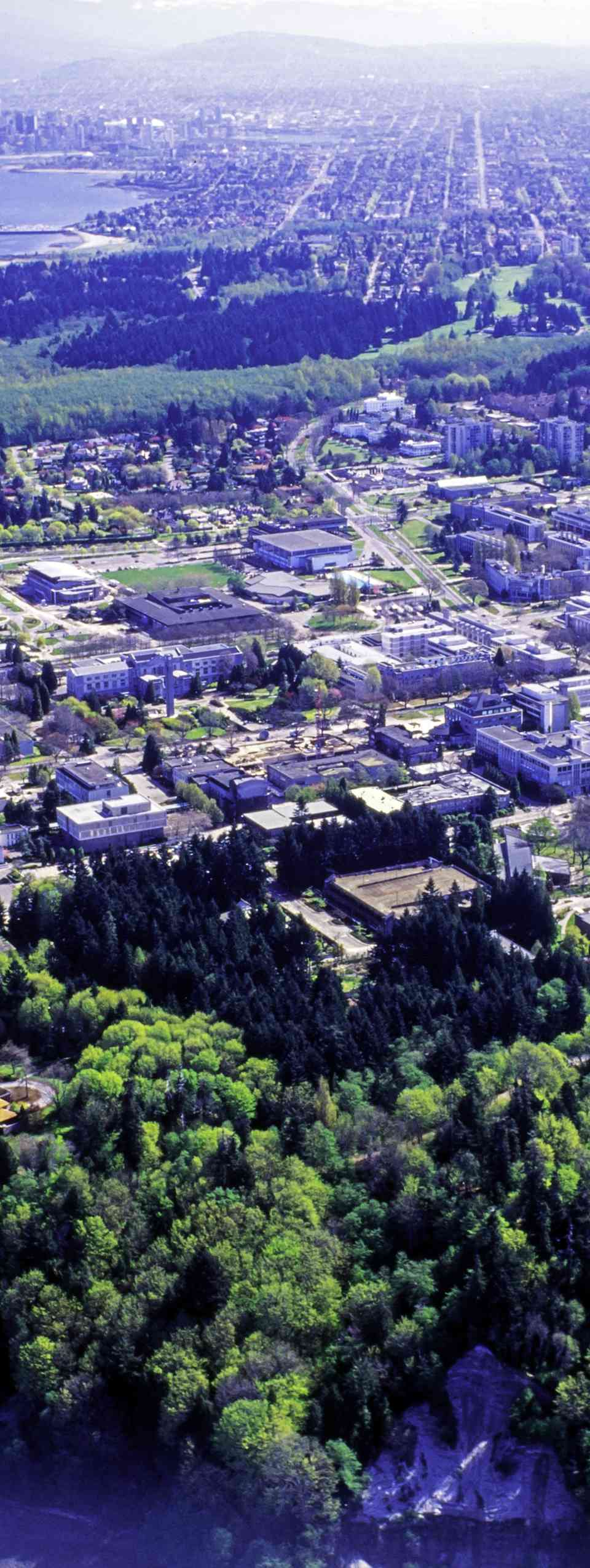 Global aerial view of the University of British Columbia, buildings and campus