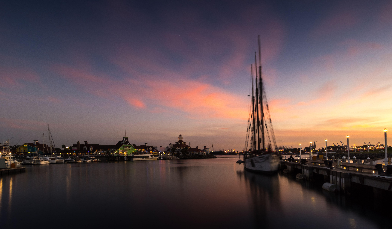Moored sailboat in Rainbow Harbor in Long Beach