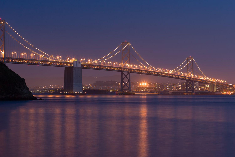 San Francisco Bay Bridge at Twilight - from Treasure Island