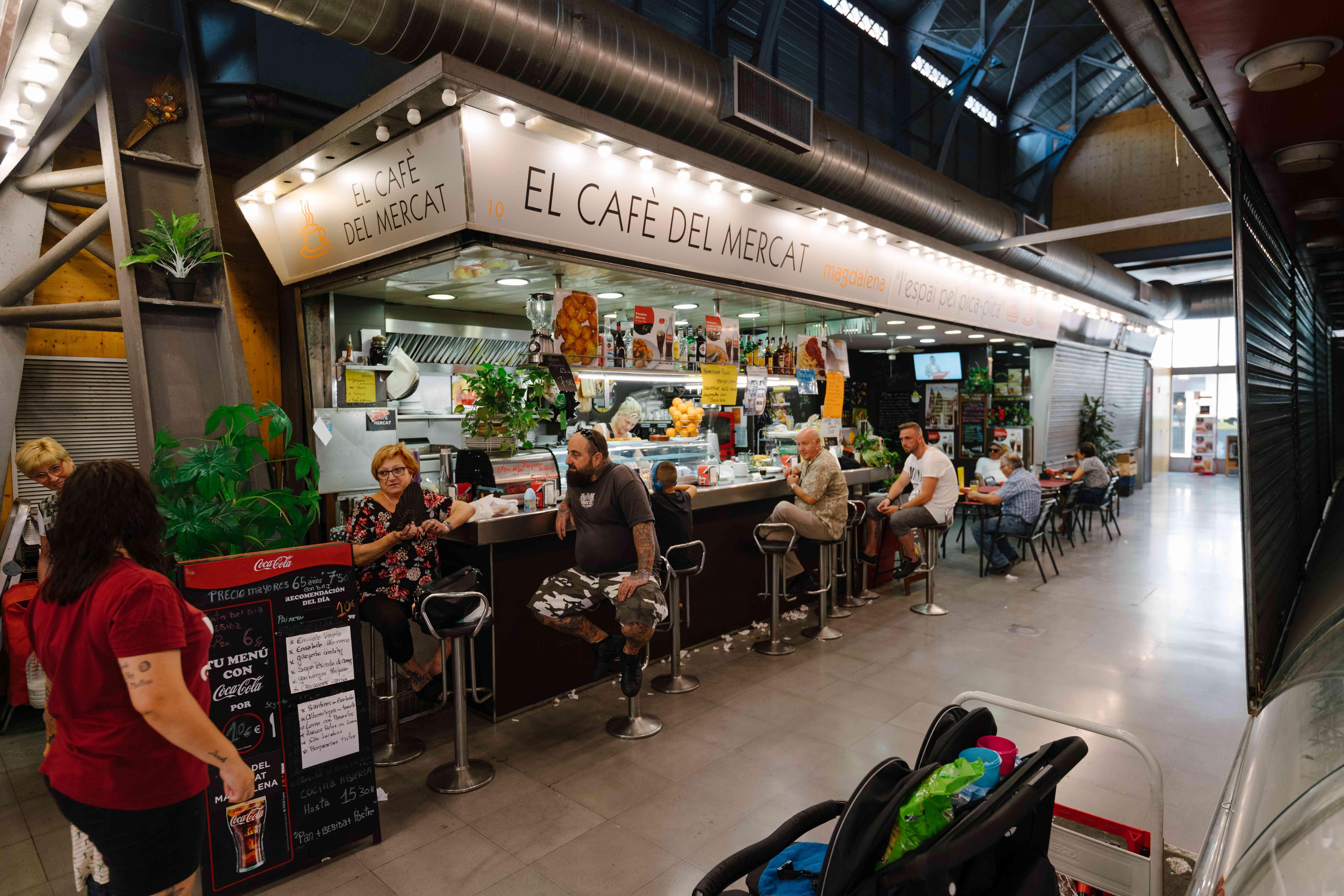 Food counter at the Barceloneta Market
