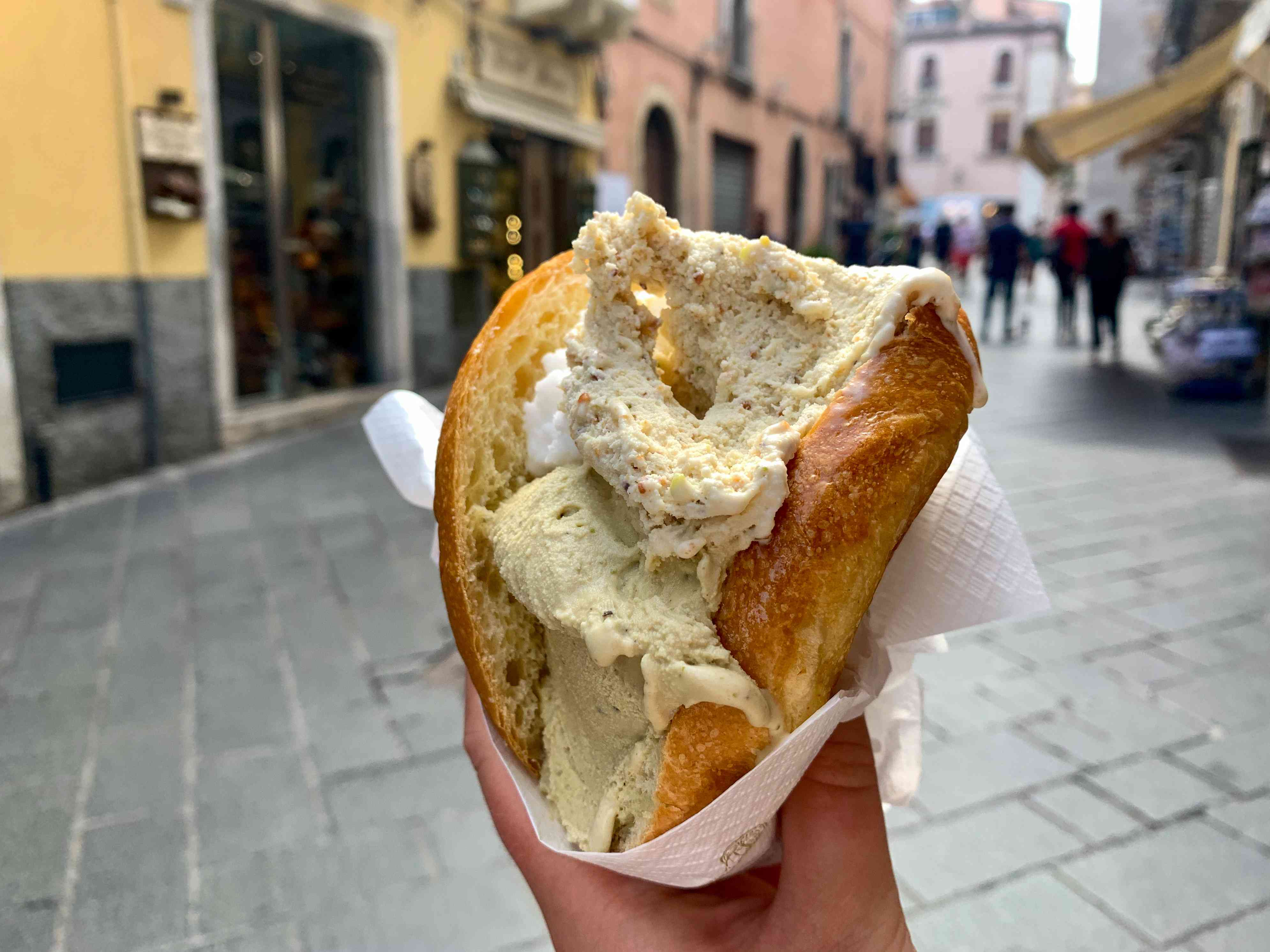 Traditional Sicilian ice cream in brioche bun