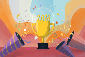 Illustration of a trophy with 2018 on it