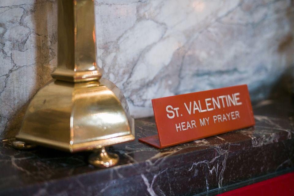 Ireland, Dublin, part of grave of St. Valentine in Whitefriar Street Church