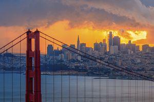 Golden Gate Bridge and San Francisco Downtown Skyline at Sunrise