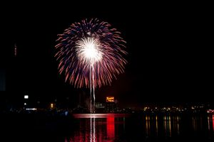 Fireworks over the water in Baltimore, MD USA