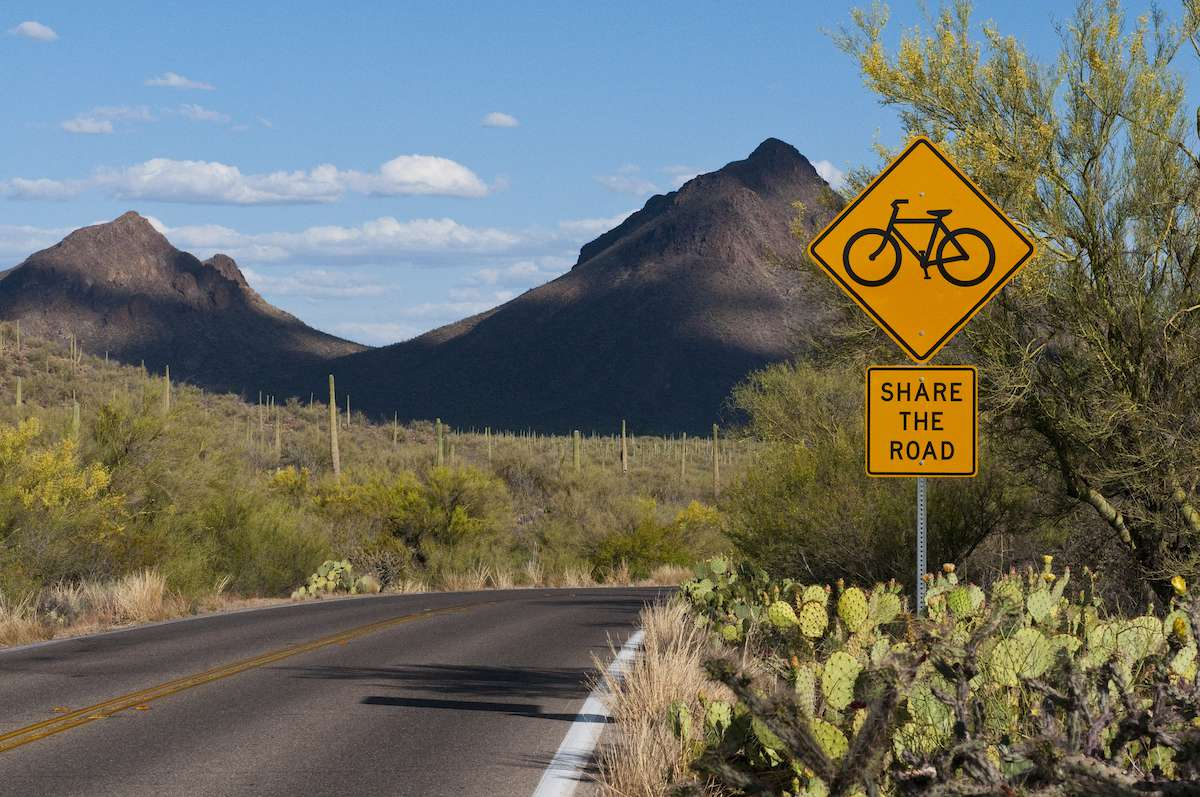 A road sign reminds drivers to share the road with cyclists in the Arizona desert