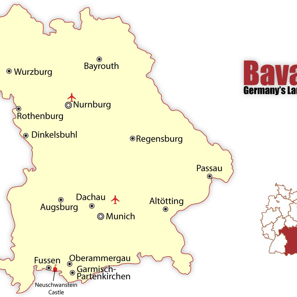 Map Of German Castles.Travel To The Best Bavarian Cities Munich And Nuremberg