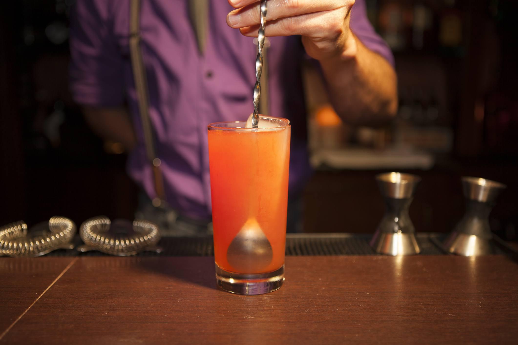 Cocktail on Bar with Stirrer