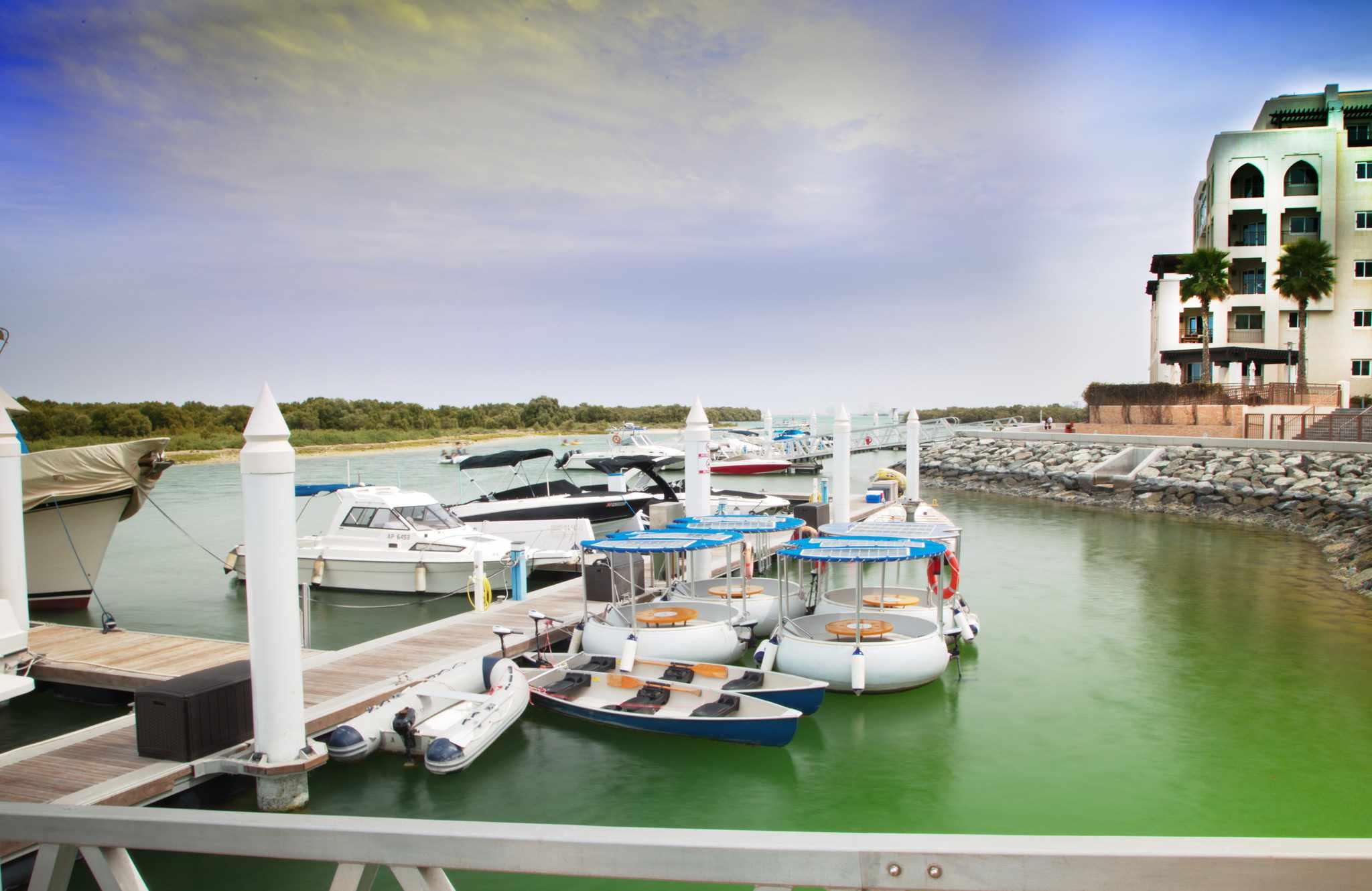 Marina outside of the Eastern Mangroves Hotel and Spa by Anantara.