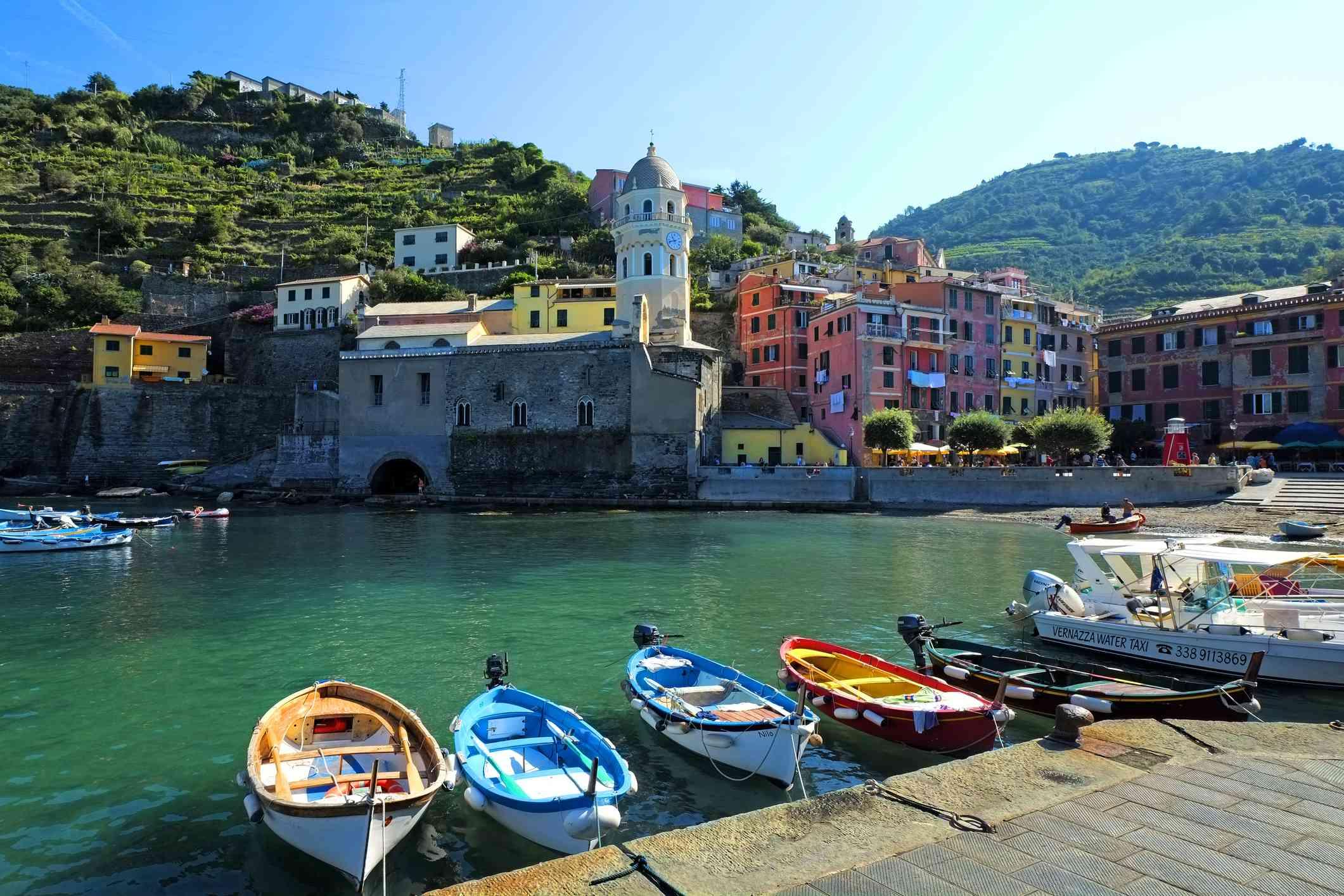 Small boats moored at Vernazza