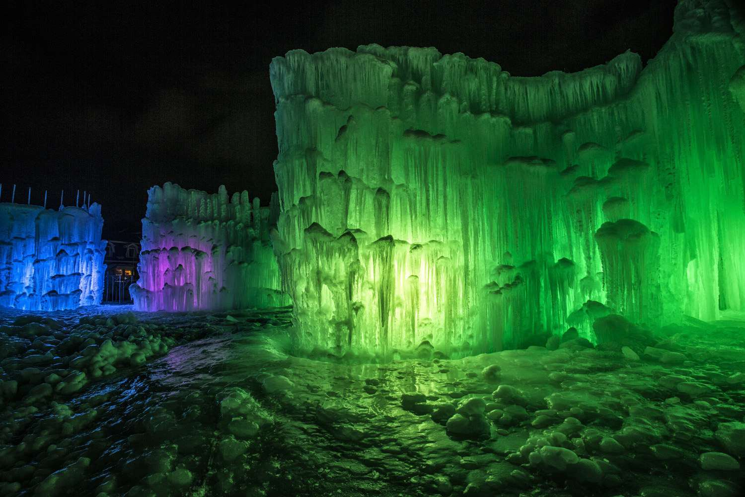 Ice Castles New Hampshire at Night