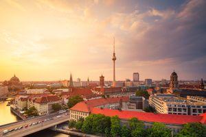Berlin Panorama Summer Sunset Skyline with TV Tower