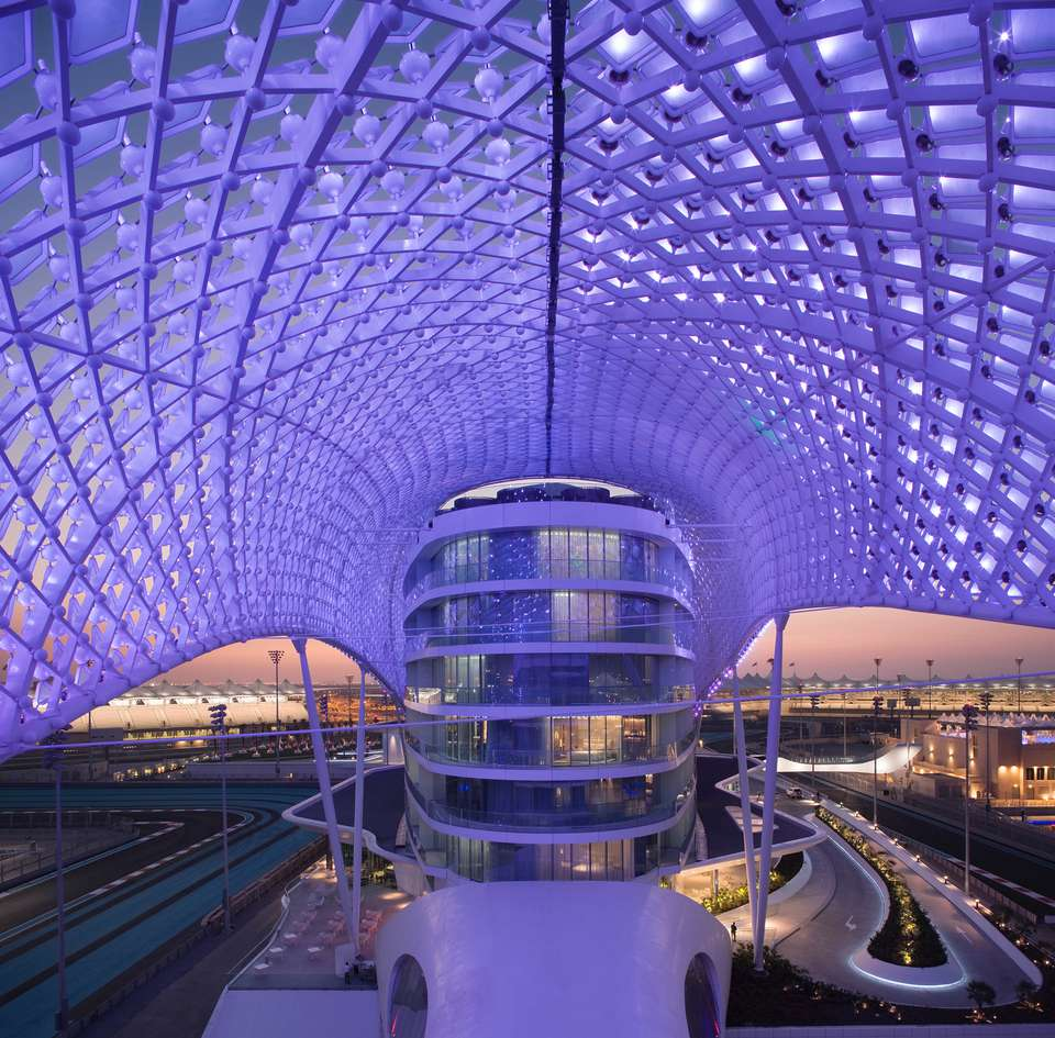 Futuristic purple hotel in Abu Dhabi