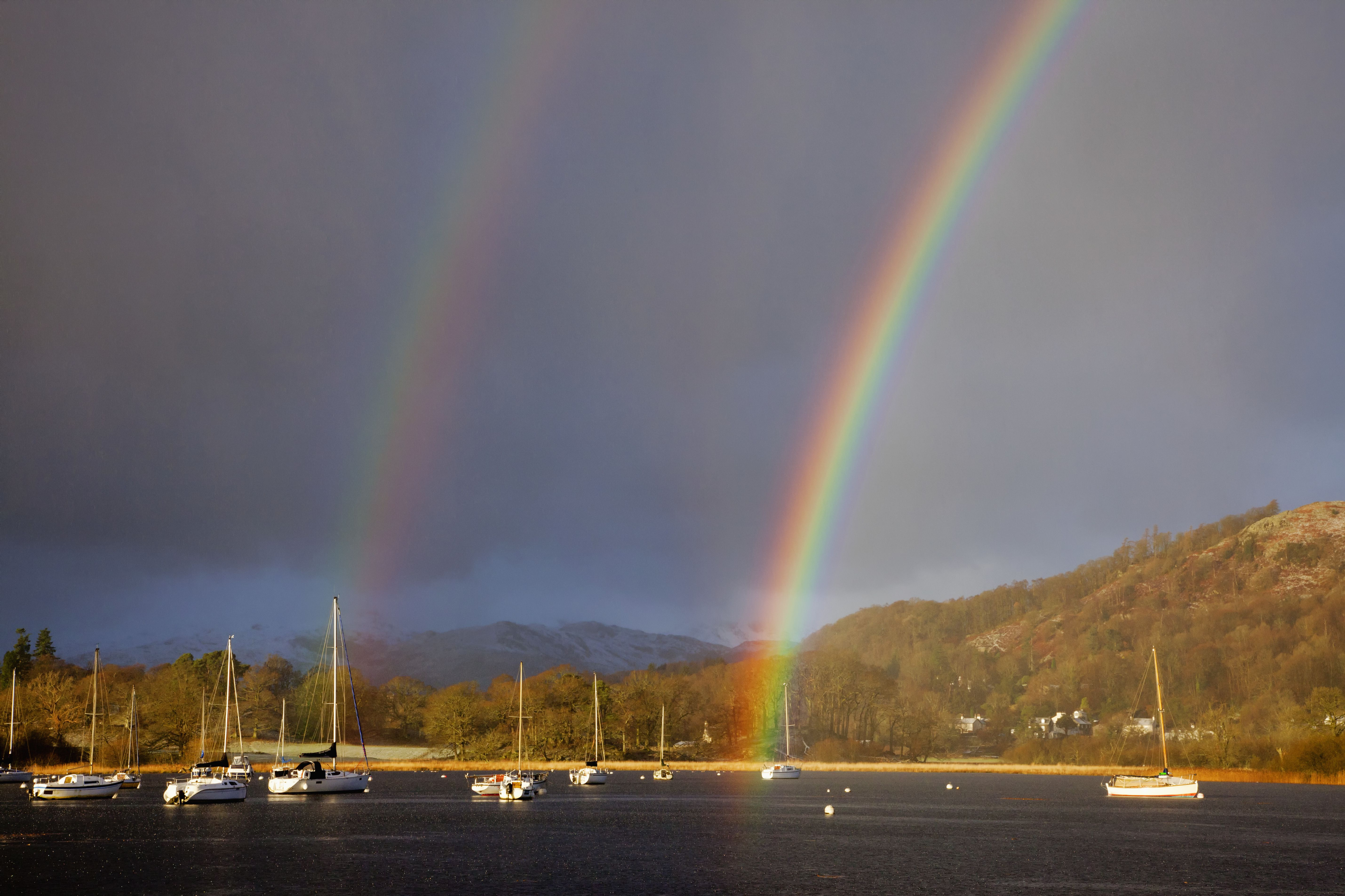 Double Rainbow Over The Harbour Of Windermere Lake; Cumbria England
