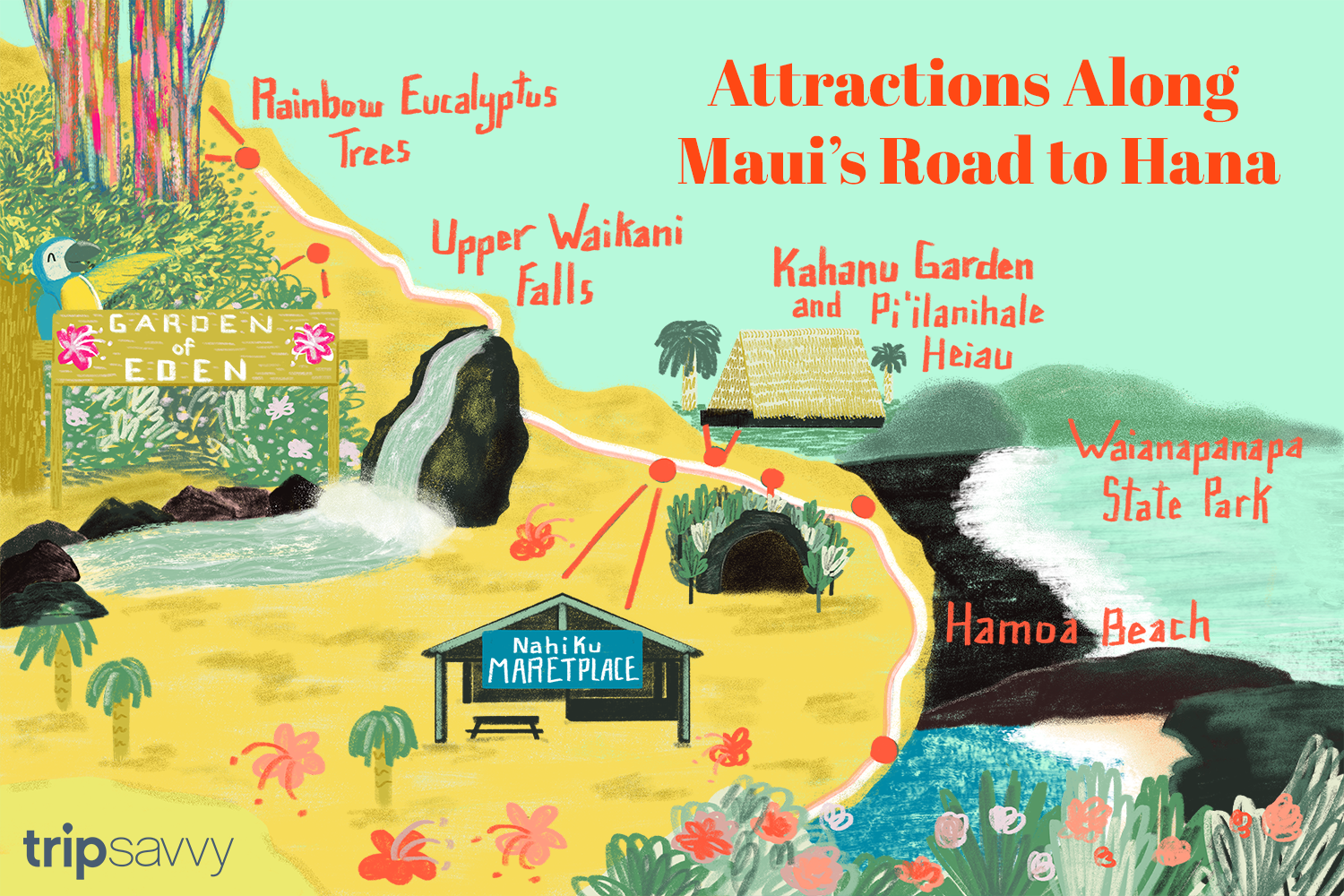 attractions along the road to hana